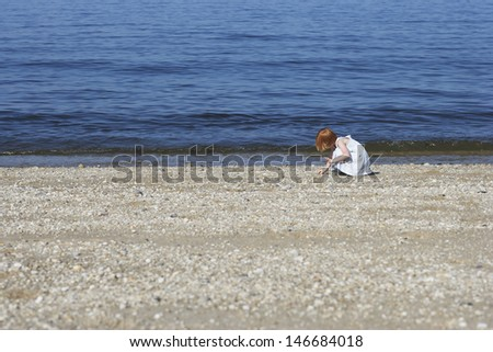 Side view of little girl collecting shells on beach - stock photo