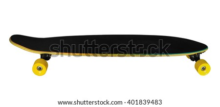 Side view of longboard (skateboard) isolated on white background