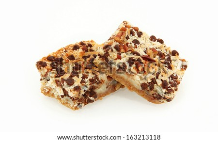 Side View Of Magic Cookie Bars Isolated On White Background - stock photo