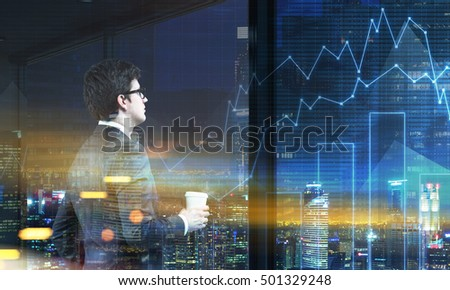 Side view of man in glasses holding coffee cup and looking at large city panorama. Graphs are seen at the foreground. 3d rendering. Toned image. Double exposure.