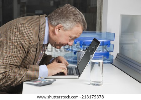 Side view of middle-aged businessman using laptop at desk in office - stock photo