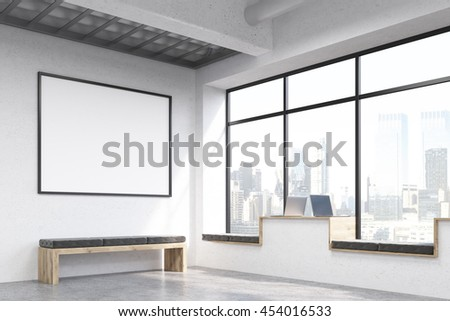 Side view of modern hipster windowsill workplaces in concrete interior with bench, blank picture frame and window with New York city view. Mock up, 3D Rendering