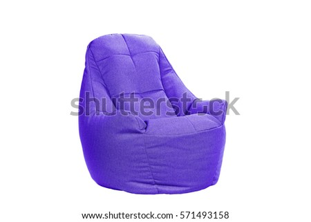 Side View Of Nice New And Soft Violet Beanbag Isolated On White Background