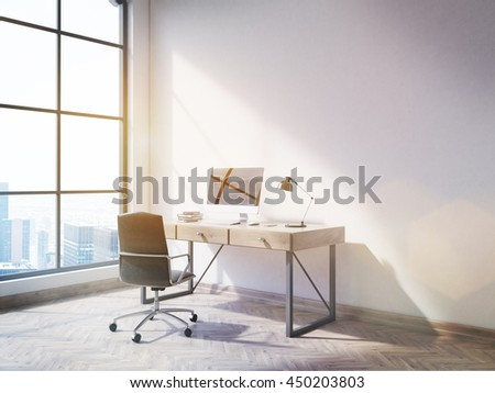 Side view of office interior with blank computer on desktop, wooden floor, concrete wall and window with New York city view. Mock up, 3D Rendering