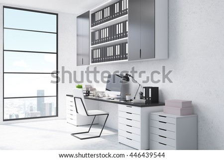 Side view of office workplace with blank computer monitor, shelves with documents and window with New York city view and daylight. 3D Rendering - stock photo