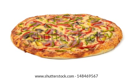 Side view of pizza isolated on white