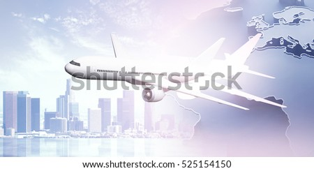 Side view of plane on creative city background with abstract map. Travel concept