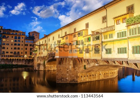 Side view of Ponte Vecchio at Sunset - Florence - Italy - stock photo