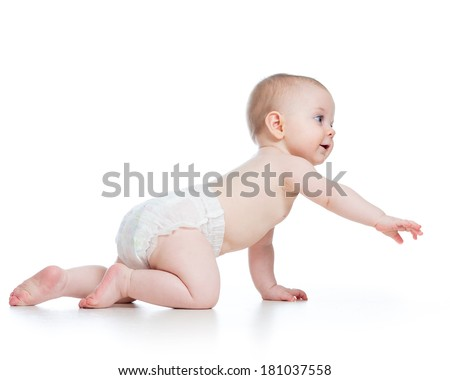 side view of pretty crawling baby girl - stock photo