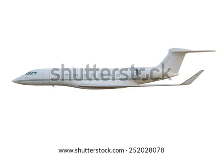 Side view of private jet airplane - stock photo