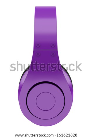 side view of purple and black wireless headphones isolated on white background - stock photo