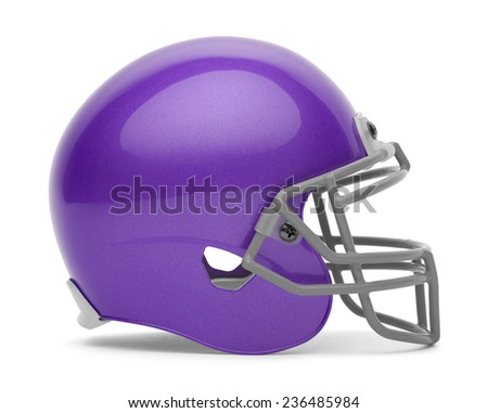 Side View of Purple Football Helmet with Copy Space Isolated on White Background. - stock photo