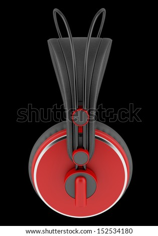 side view of red and black wireless headphones isolated on black background