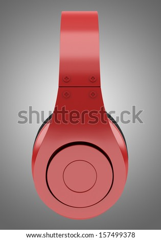 side view of red and black wireless headphones isolated on gray background - stock photo