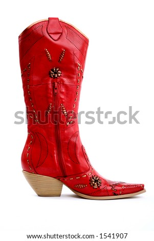 side view of red cowgirl boots