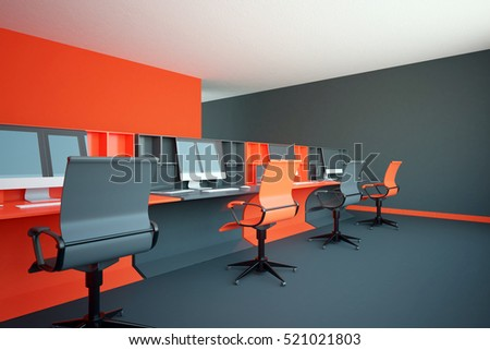 Side view of red coworking office interior. 3D Rendering
