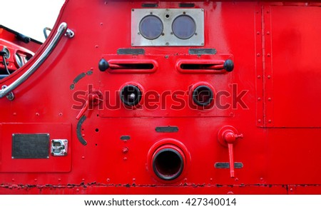 Side view of red fire truck - look like robot face - stock photo