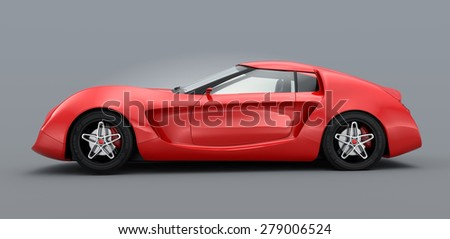Side view of red sports car isolated on gray background. Original design. 3D rendering image.