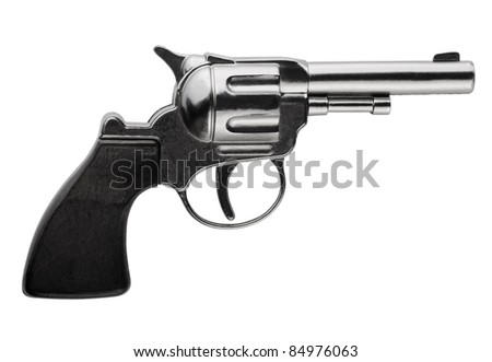 Side view of revolver isolated on white