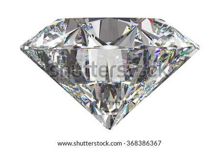 Side view of round diamond with isolated on white