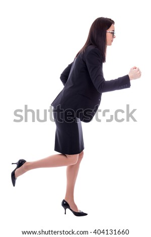 side view of running young woman in business suit isolated on white background