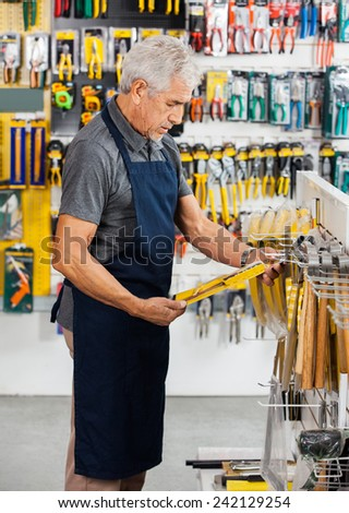Side view of senior salesperson working in hardware store - stock photo