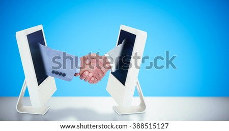 Side view of shaking hands against white background with vignette