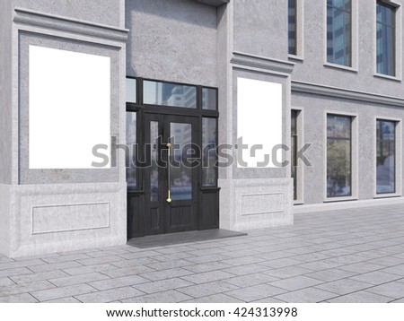 Side view of shop exterior with two blank banners. Mock up, 3D Rendering - stock photo