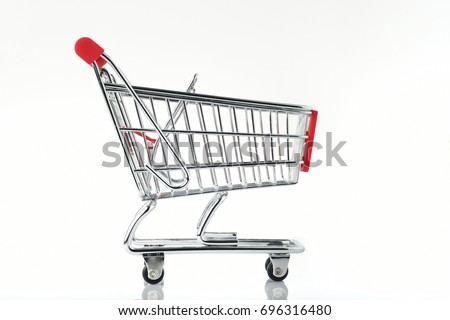 Side View of Shopping Cart On White Background Shot In Studio