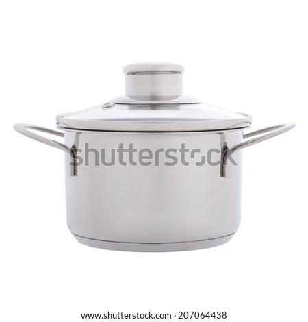 Side view of small stainless steel pan isolated on white - stock photo