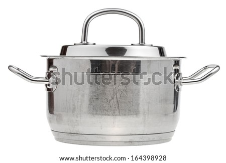 side view of small stainless steel saucepan covered by metal lid isolated on white background - stock photo