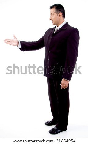 side view of smiling boss offering hand shake with white background - stock photo