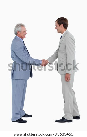 Side view of smiling tradesmen shaking hands against a white background - stock photo