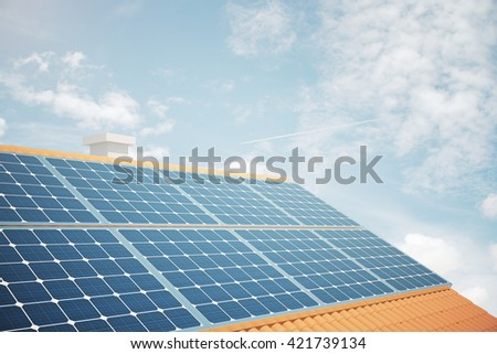 Side view of solar panels on house roof against bright blue sky. 3D Rendering - stock photo