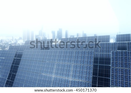 Side view of solar panels on house roof against city. 3D Rendering - stock photo