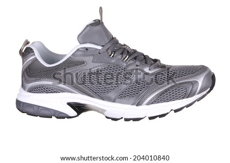 Side view of sport shoe. Isolated on a white background. - stock photo