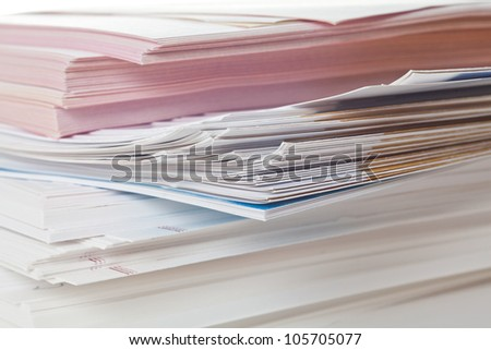 Side view of stack of papers