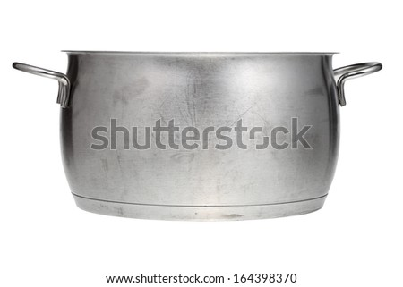 side view of stainless steel saucepan isolated on white background