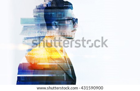 Side view of stylish businessman in glasses and Singapore city on white background. Double exposure. Copyspace - stock photo