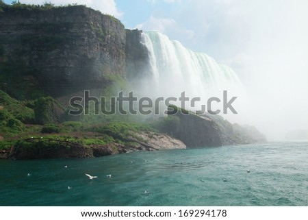 Side view of the american border of Niagara falls - stock photo