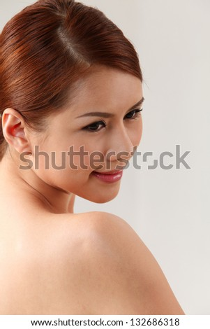 side view of the asian beauty - stock photo