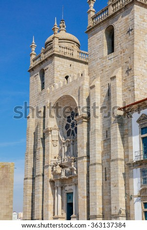 Side view of the cathedral of Porto. - stock photo