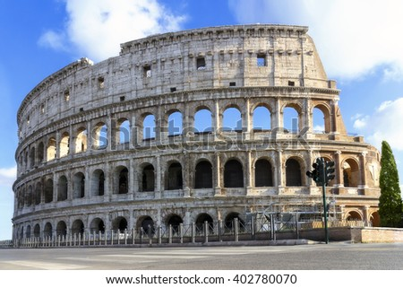Side view of the famous monument, complete facade of the Colosseum, taken at the end of the restoration, not of people. - stock photo