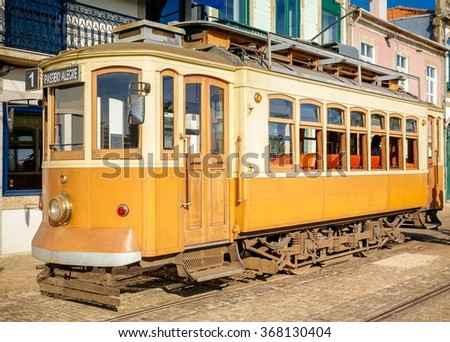 Side view of the old Porto streetcar. - stock photo