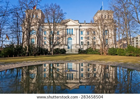 Side view of the Reichstag (Bundestag) building in Berlin, Germany - stock photo