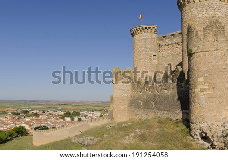 Side view of the towers and walls. Castle of Belmonte. Belmonte, Cuenca, Spain - stock photo