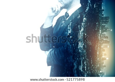 Side view of thoughtful businessman on city background. Double exposure. Research concept