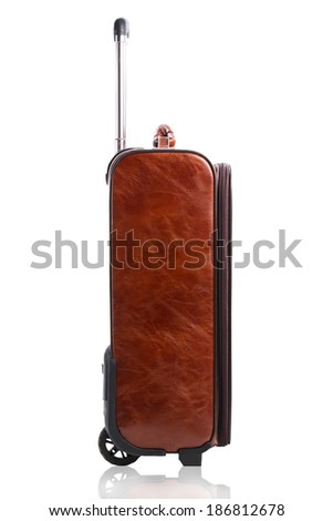 Side view of travel business suitcase isolated on a white background - stock photo