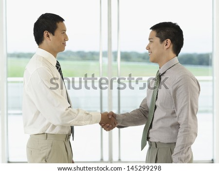 Side view of two businessmen shaking hands in front of window - stock photo