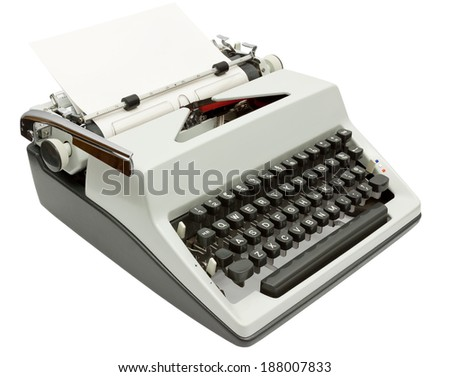 Side view of Typewriter on white background with clipping path